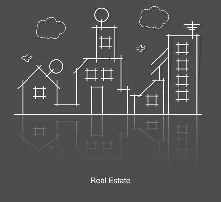 housing project: la ciudad de bienes ra�ces del proyecto de circuito Vectores