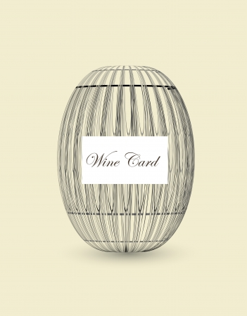 wooden barrel for wine card Vector
