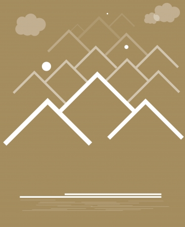 range of mountains with clouds Vector