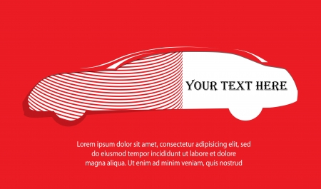 car silhouette banner on red background for your text Vector