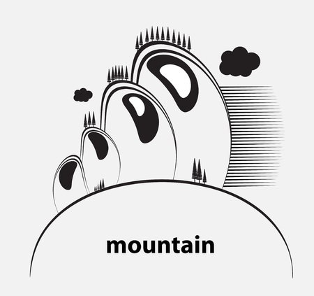 range of mountains with clouds Stock Vector - 13950371