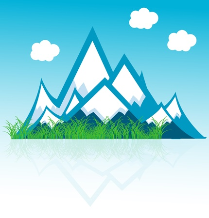 snowy mountains: range of mountains with clouds  Illustration