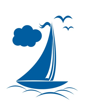 boat icon: Sailing ship in the ocean with clouds  Illustration