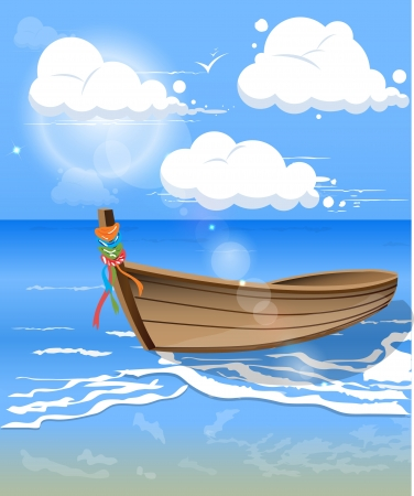 Blue sea water with boat and clouds in clear day Vector