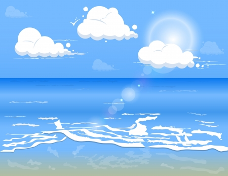 Blue sea water with clouds in clear day Vector