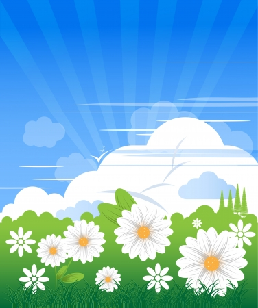 Blue sky with clouds in clear day and camomiles Illustration