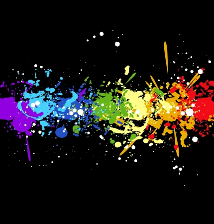 Color rainbow paint splashes for background Vector
