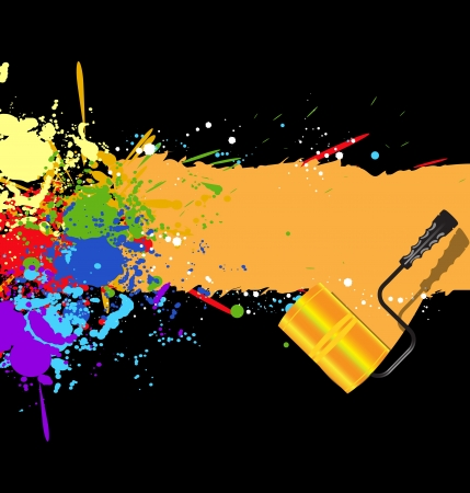 Color rainbow paint splashes for background with roller Vector