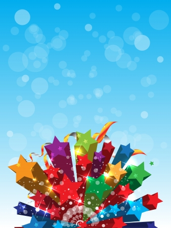 abstract color stars on blue sky background Vector