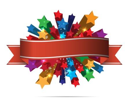 celebration background: abstract color stars background Illustration