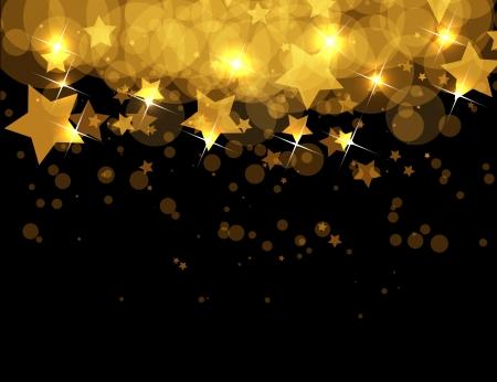 konfeti: koyu arka fon üzerinde soyut altın yıldız Çizim