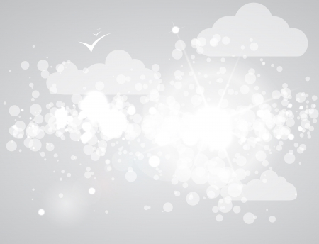 abstract grey sky background with clouds and sun Stock Vector - 14163986