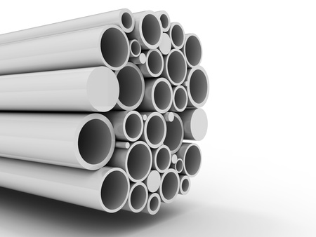 oil pipeline: stack of steel metal tube pipes background Stock Photo