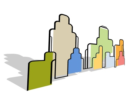 Color abstract city landscape stylized background vector Vector