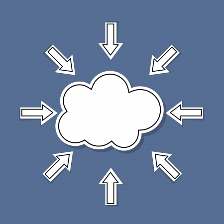 cloud with stickers for r abstract background Vector