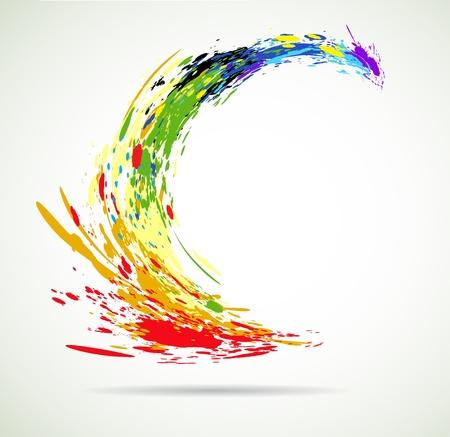 Gründe salpicaduras de pintura de colores que vuelan para el fondo