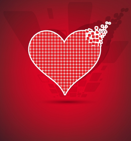 Abstract red pixel heart mosaic background Vector