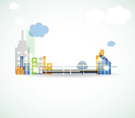 urban environments: City Landscape abstract real estate background Illustration