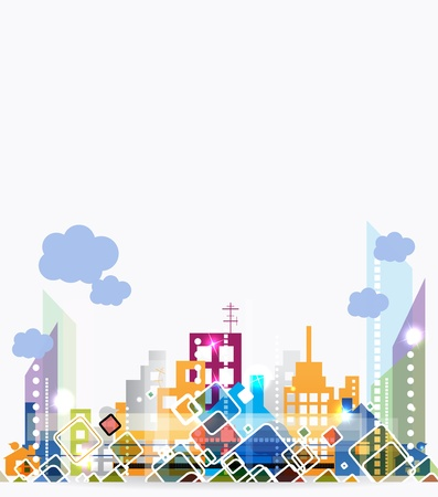 City Landscape abstract real estate background Vector
