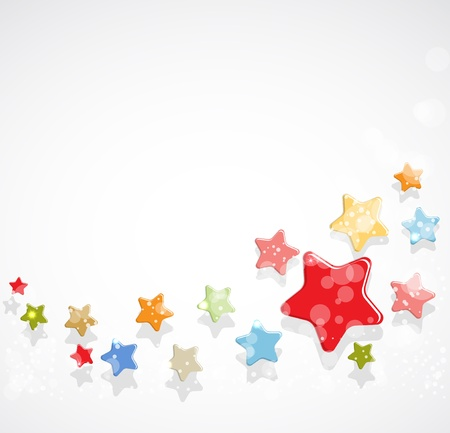 small group of object: abstract light color stars fly vector background