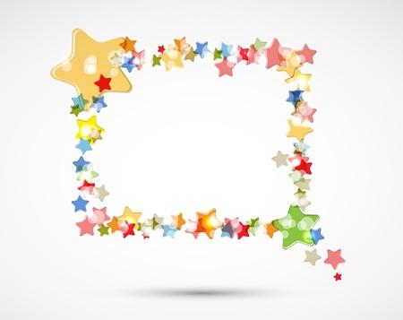 gouden ster: abstracte lichte kleur sterren frame van vliegende vector achtergrond