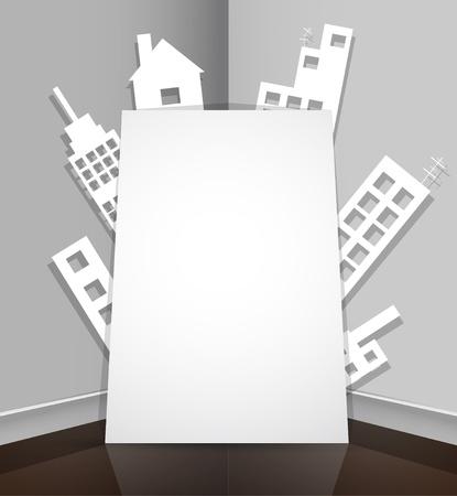 Ciudad abstracta del papel inmobiliario casa de fondo