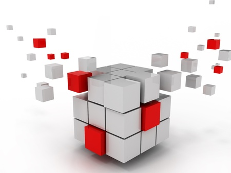 organization structure: abstract cube of business structure and construction Stock Photo