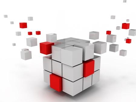 cubo: cubo abstracto de la estructura empresarial y de la construcci�n Foto de archivo
