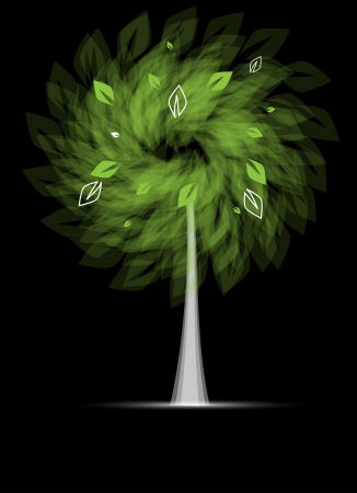 leafage: abstract futuristic stylized tree with green leafage card background