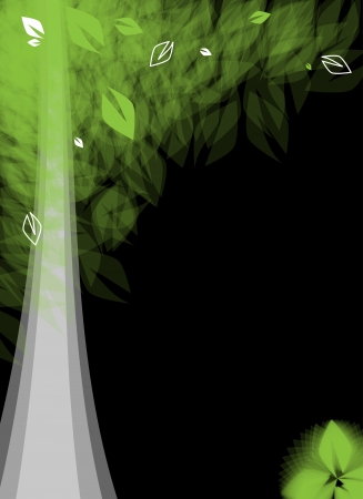 abstract futuristic stylized tree with green leafage card background Vector