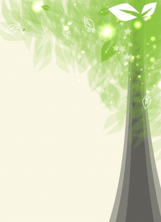 abstract futuristic card stylized tree with green leafage Vector