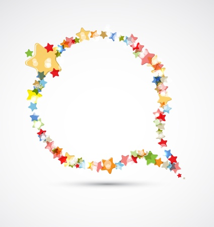 falling star: abstract light color stars frame flying circle background