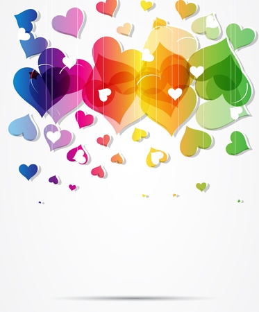 heart abstract rainbow background Valentine day Vector