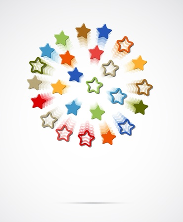 small group of objects: abstract light color stars fly circle background Illustration