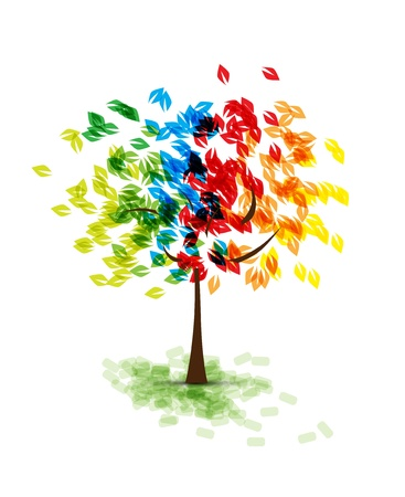 abstract futuristic stylized tree with color leafage Stock Vector - 14651395