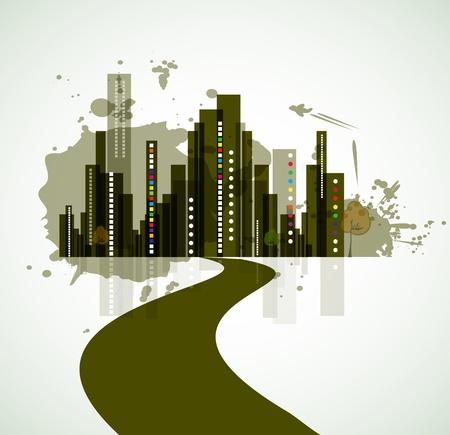 real estate city background landscape urban Stock Vector - 14651397