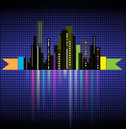 real estate night city business landscape with lights Stock Vector - 14651401