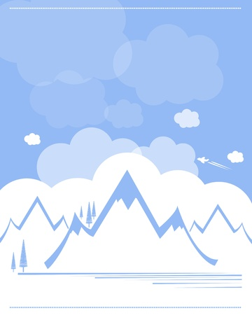mountain range landmark with blue sky and clouds background Vector