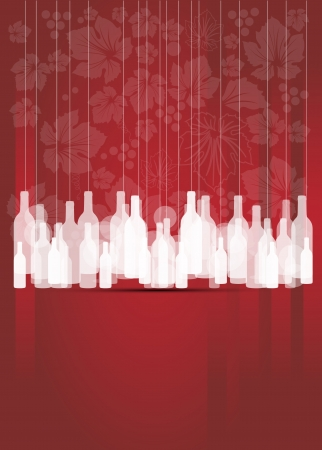 wine red abstract background with bottles Vector