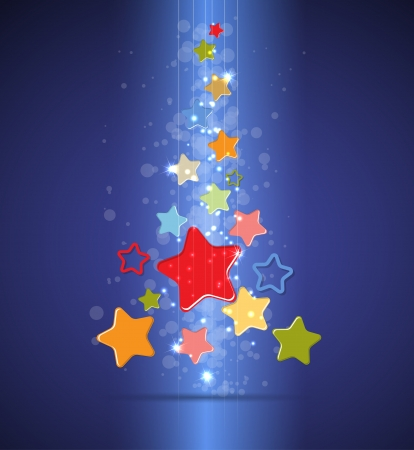 christmas tree and happy new year background with stars Vector