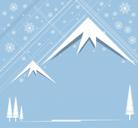 christmas and happy new year background with mountain Vector