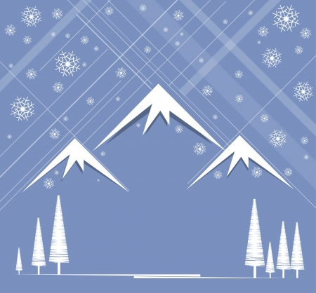 christmas and happy new year background with mountain and sky snowing Vector