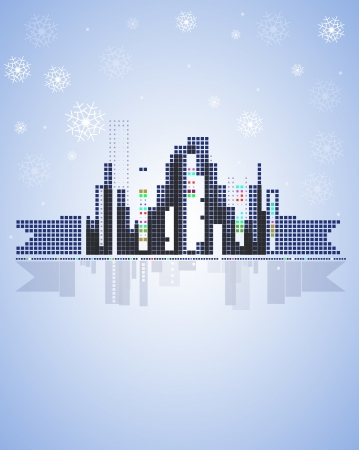winter city real estate christmas background Stock Vector - 14950603