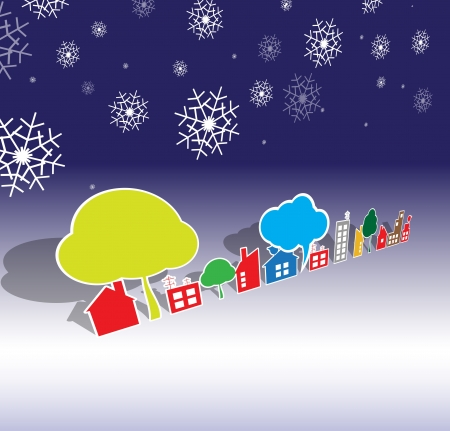 winter city real estate christmas and new year houses and tree Vector