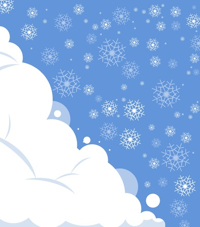 snowfall with sky christmas and happy new year background Vector