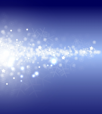 christmas and new year night flow stars with flakes Stock Vector - 15029187