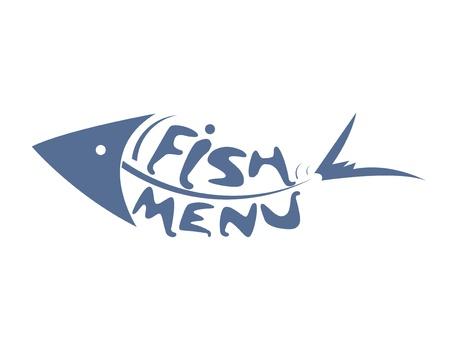 carp fishing: astratto pesce stilizzato in scala per il menu ristorante