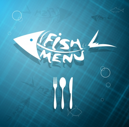 scaled: abstract stylized scaled fish menu for restaurant