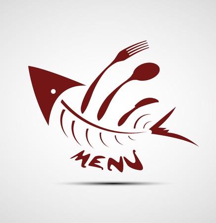 abstrakten stilisierten Fisch-Menü für Restaurant