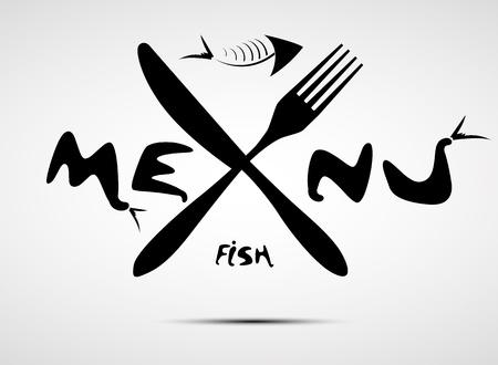 abstrait menu de poissons stylisés pour restaurant